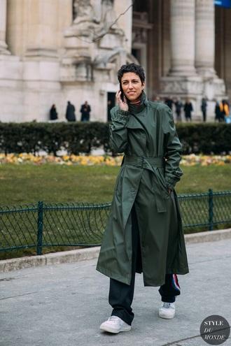 coat green coat long coat pants black pants trench coat green streetstyle sneakers white sneakers