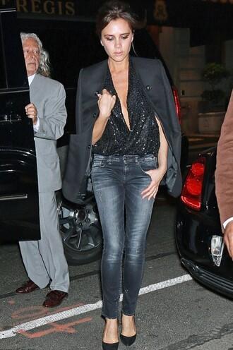 top plunge v neck sequins sequin shirt jeans pumps jacket