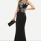 Black lace applique sleeveless fishtail dress -shein(sheinside)