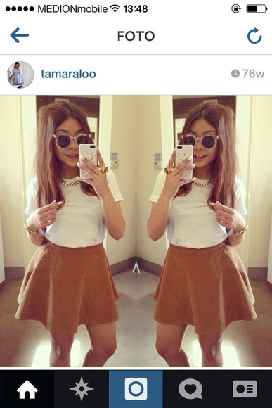skirt brown skirt tamaraloo skater skirt