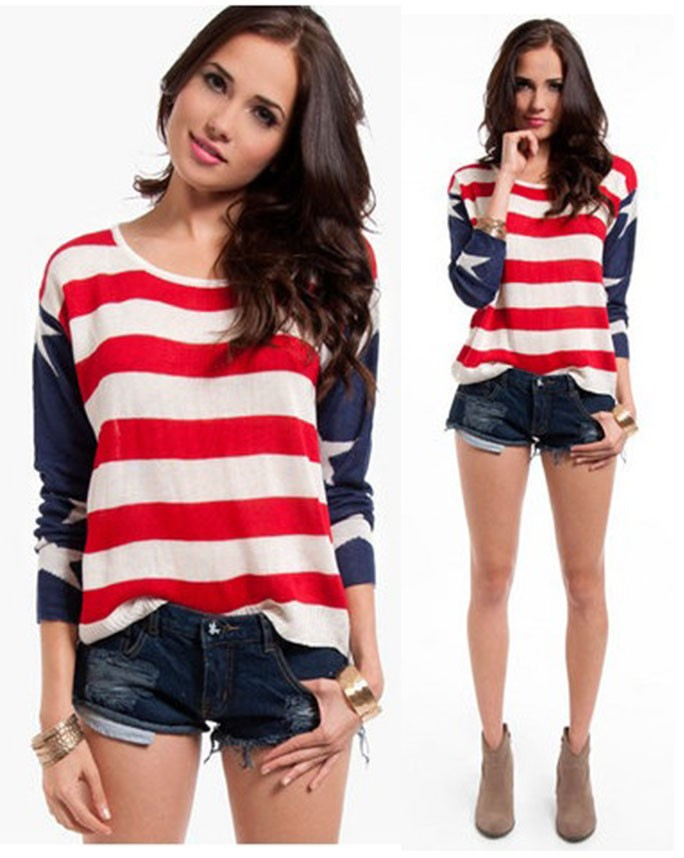 American Flag USA Red White Blue Knit Long Sleeve Top Sweater ...