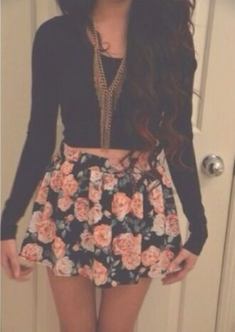 jewels skirt floral tumble cute tumblr black floral skirt