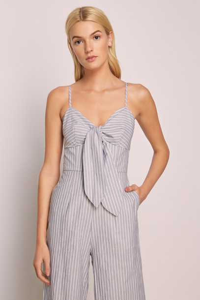 THE FIFTH DEVOTION STRIPE JUMPSUIT charcoal w white