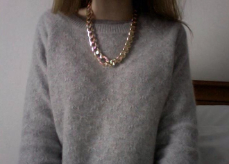 sweater grey jewels h&m or doré faux collier necklace