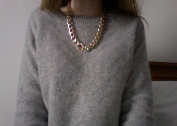 or jewels necklace collier faux h&m doré sweater grey