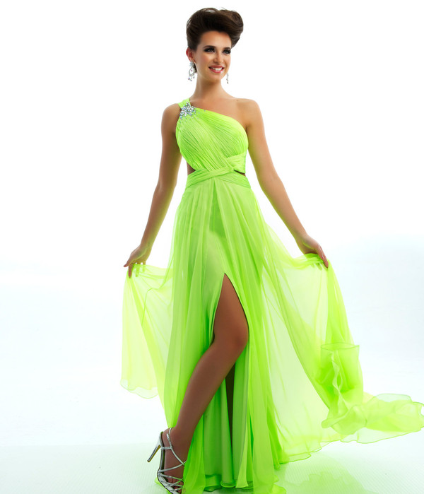 dress neon green prom dress mac duggal prom dresses cute long prom dress one shoulder prom dress