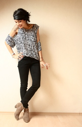 print shirt coline white shirt black shirt