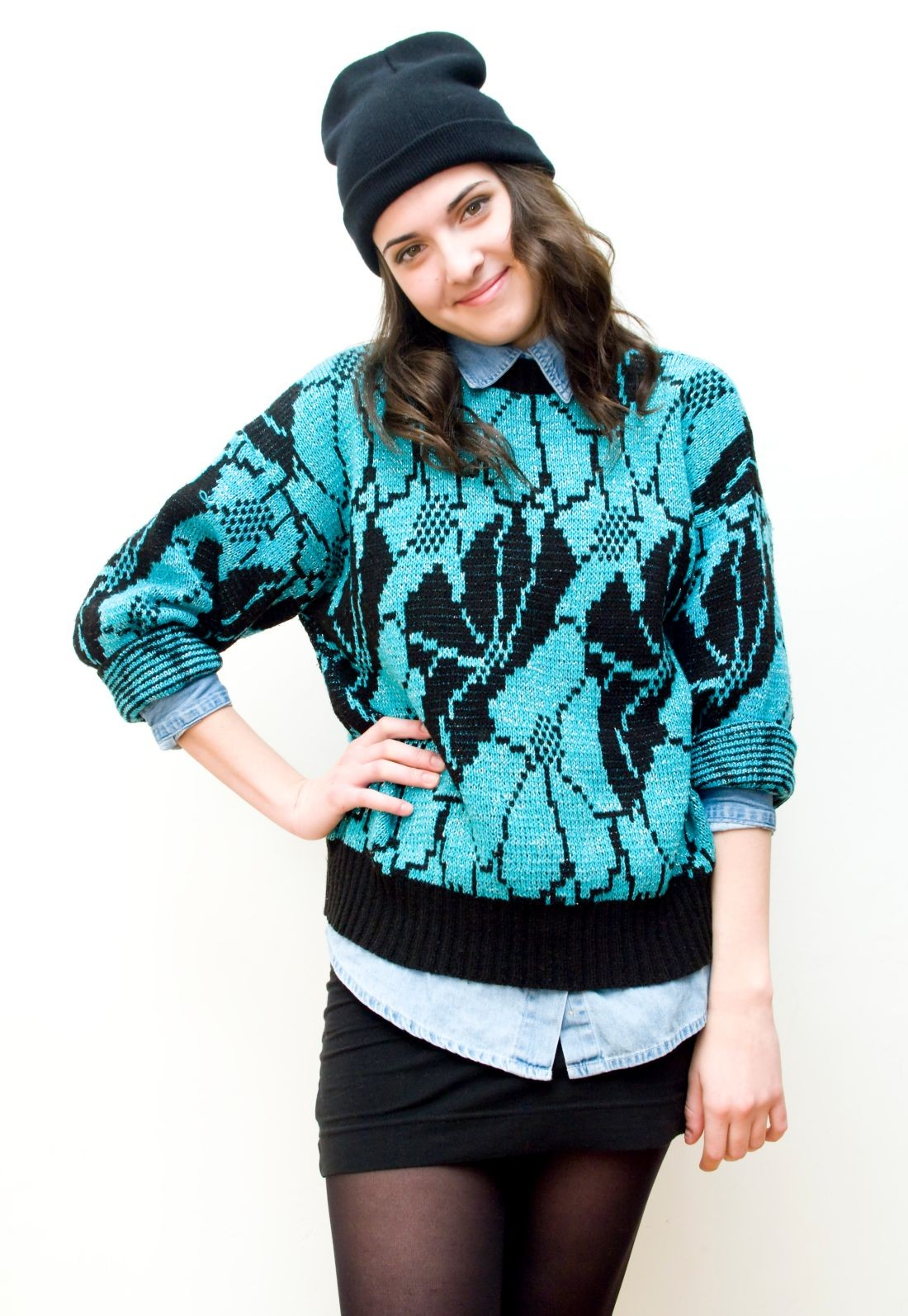 Sweater with turquoise flowers - Pop Sick Vintage