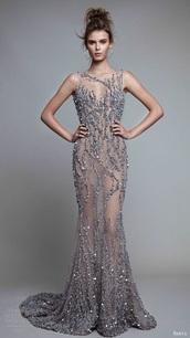 dress,silver,glitter,sparkle,nude,transparent,prom,silver dress,sparkly prom dress,long dress