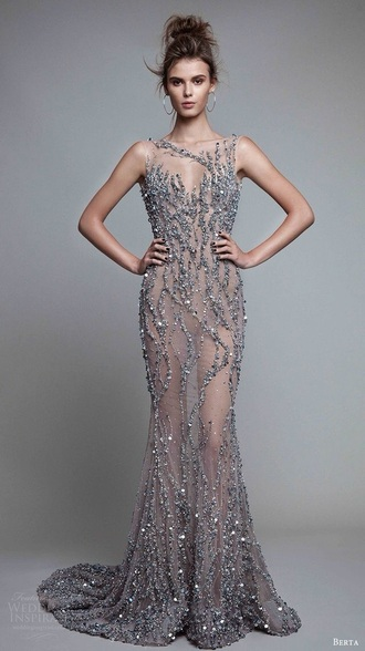 dress silver glitter sparkle nude transparent prom silver dress sparkly prom dress long dress