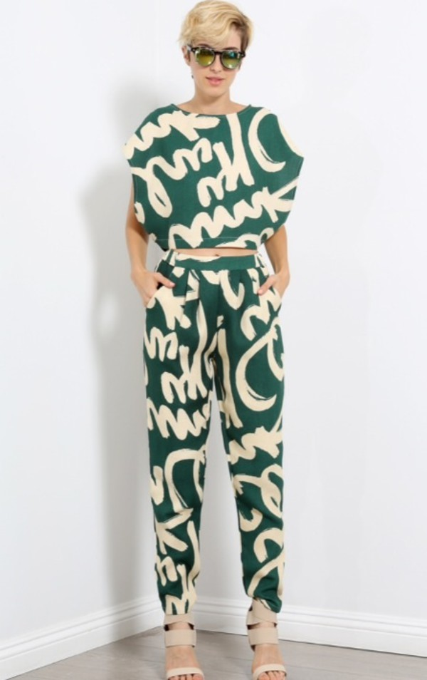 jumpsuit crop tops pants set crop top trouser set marked up set marked up trousers marked up crop top graffiti set blouse