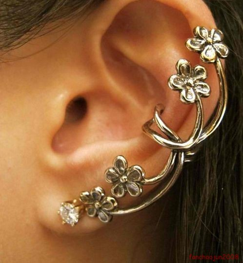 1 PC Antique Silvery Bronze Flower Ear Cuff Earrings A1336 | eBay