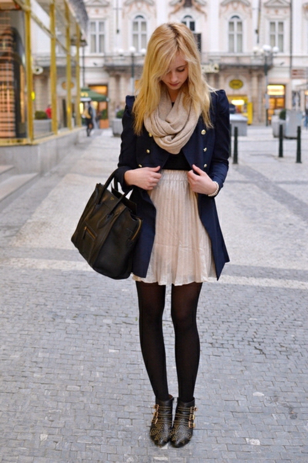 jacket bag scarf heels