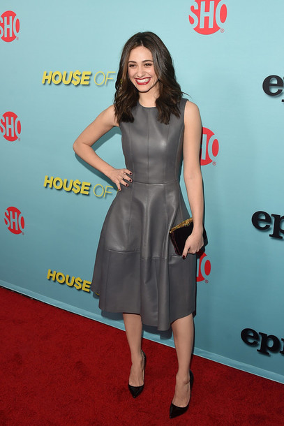leather leather dress emmy rossum grey dress