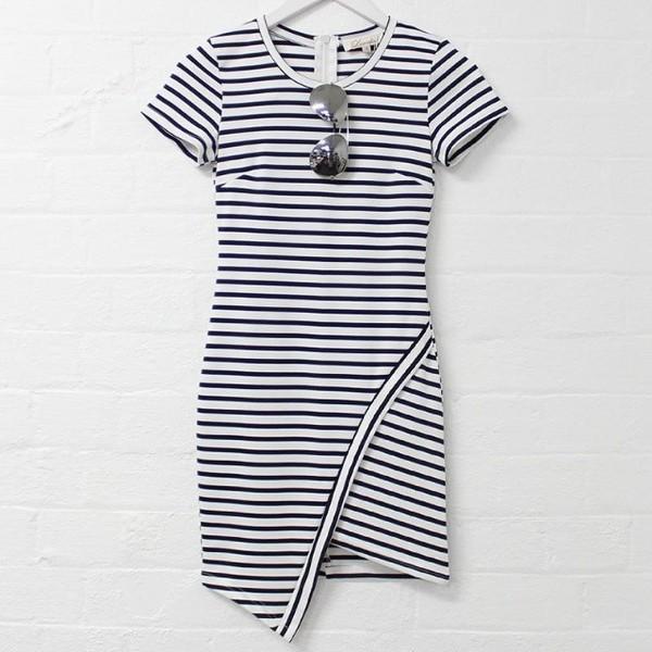 dress short sleeve dress striped dress black and white dress sunglasses stripes