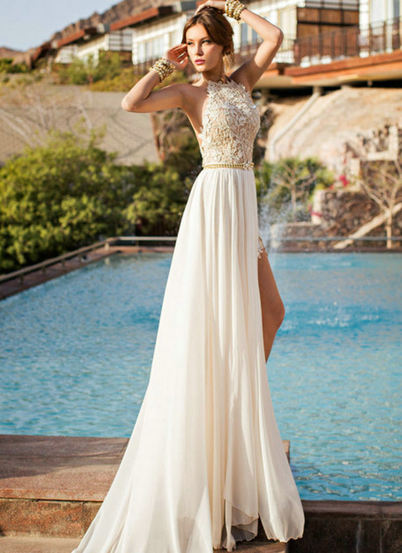 Aliexpress.com : Buy Prom Dresses 2015 High Neck Ivory Chiffon ...