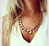 jewels,necklace,statement necklace,chain,chunky chain,gold chain,shirt,gold chain choker,gold choker,chain necklace,choker necklace