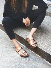 shoes,slide shoes,metallic slides,pants,black pants,top,black top