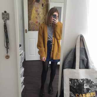 sweater clothes cardigan grunge alternative style skirt mustard sweater yellow black and white shirt tights mustard yellow cardigan denim skirt denim jacket stripes chunky sweater large