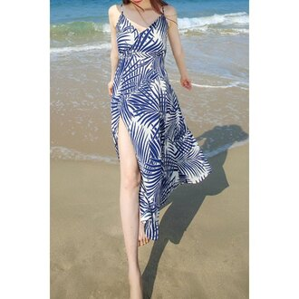 dress summer fashion beach slit dress long dress blue pattern rose wholesale-ap