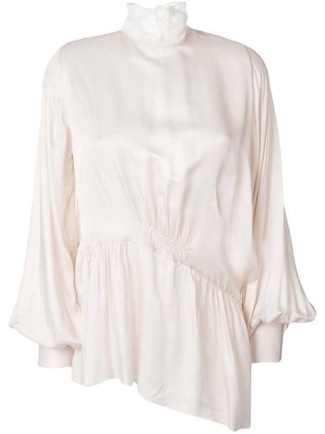 ANN DEMEULEMEESTER blouse women nude cotton silk top
