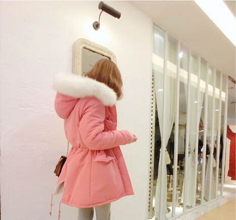 2014 winter coat women Female Thick Fur Collar Hooded Outerwear