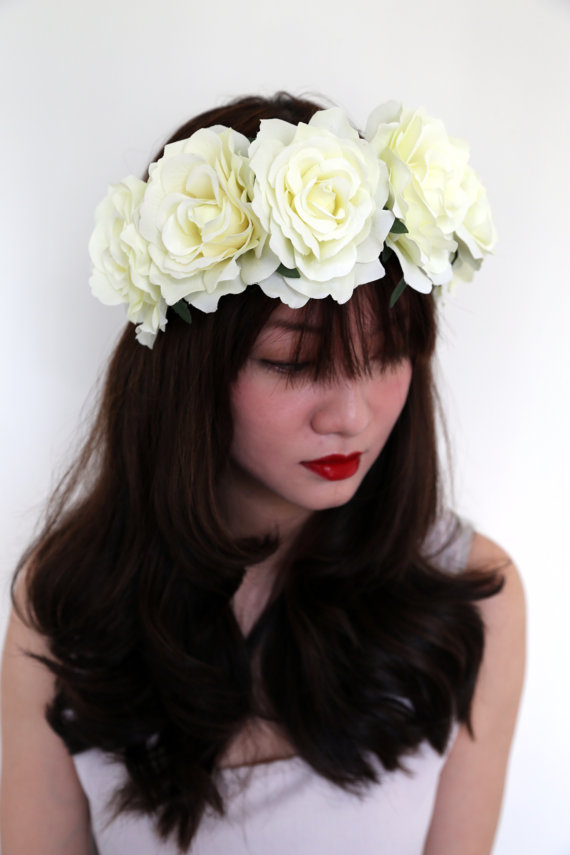 Large White Rose Flower Crown Oversize Large By Bubblyfluff