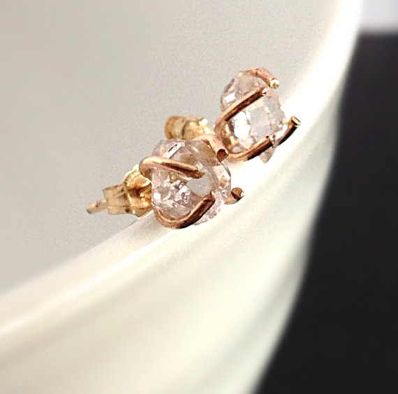 Herkimer Diamond Stud Earrings  White Diamond by camilaestrella