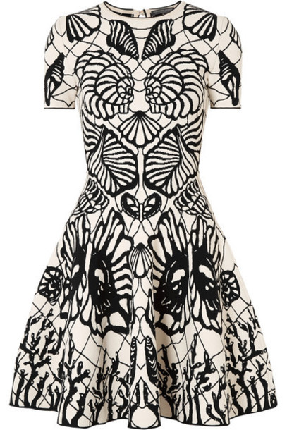 Alexander McQueen - Jacquard-knit Mini Dress - Black
