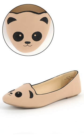 Bamboo Lula-80 Nude Panda Loafers | MakeMeChic.com