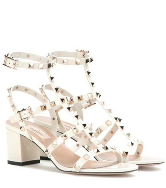 Valentino Rockstud Leather Sandals in white