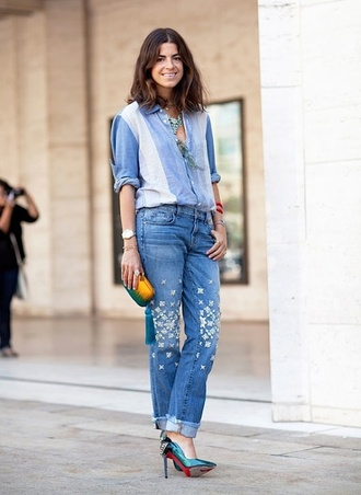 jeans cuffed jeans embellished denim embellished blue jeans shirt blue shirt pumps blue pumps high heel pumps chambray clutch man repeller blogger