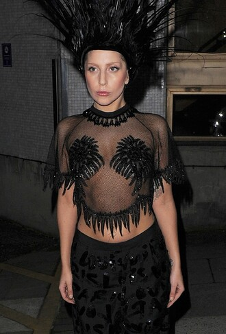 lady gaga louis vuitton black crop tops embellished