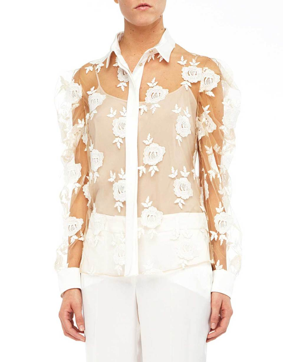 Embroidered Rose And Tulle Blouse | Blumarine
