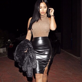skirt maniere de voir pencil skirt midi leather tie up tie side