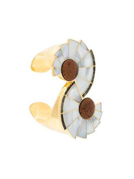Monica Sordo cuff women gold grey metallic jewels