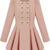 Pink Long Sleeve Double Breasted Flare Hem Wool Coat - Sheinside.com