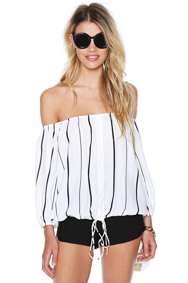 Kelsey off shoulder white stripe blouse · fashion struck · online store powered by storenvy