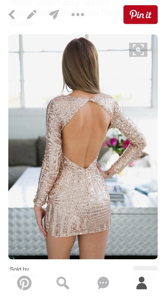 dress rose gold sequins sparkle sparkly dress open back open open back dresses