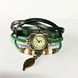 jewels charm bracelet leather watch watch vintage fashion wrap watch leaf charm style accessories.