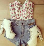 corset,floral top,denim shorts,boots,thick heel,studs,strapless,shoes,heels,beige,cream,pretty,shirt,white high heels,white crop tops,blue wash ripped skinny jeans,spikes,tank top,top,crop tops,shorts,High waisted shorts,high heels,jacket,bling,blouse,white,floral,bustier,cute,tumblr,spike,girly