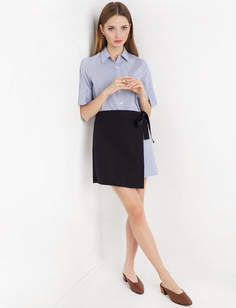 Stripe Wrap Apron Shirt Dress
