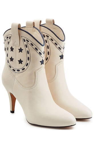 cowboy boots boots leather white shoes