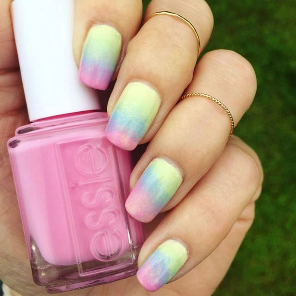 nail polish, tumblr, ombre, nail art, nails, pastel, essie, pink ...