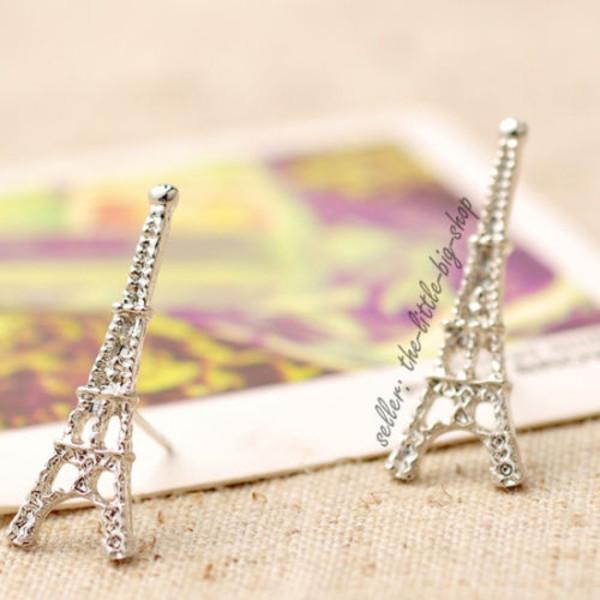 jewels earrings silver alloy girly elegant france paris eiffel tower