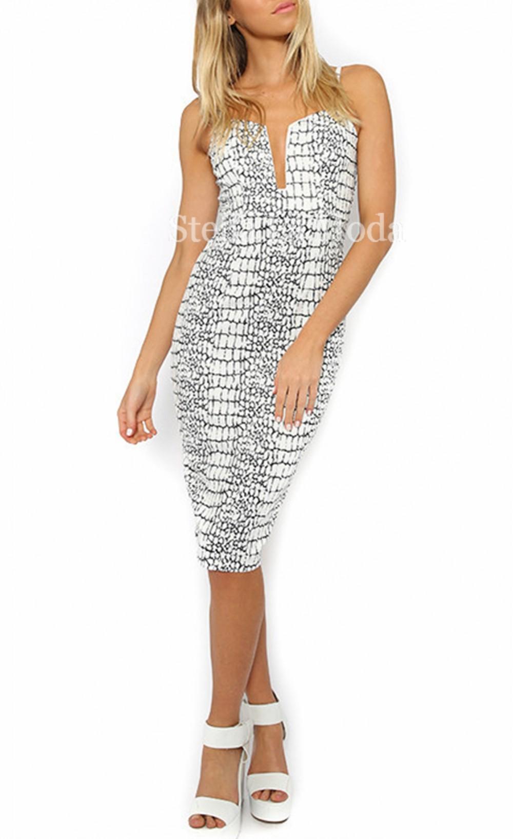Fashion rift printed sling knee length dress