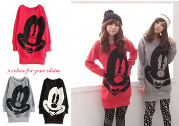 2014 autumn spring women pullover hoodies sweatshirts cartoon mickey mouse long sleeve o neck coat warmer t shirt black&red&gray