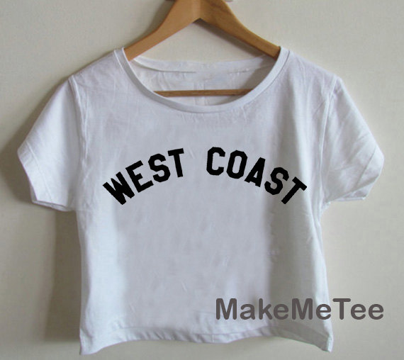 New west coast miley cyrus logo crop top tank top women black and white tee shirt