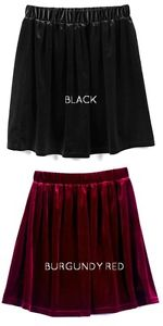 Lot 2 Velvet Skater Skirts - Black and Burgundy Wine Red Vintage Fashion Grunge