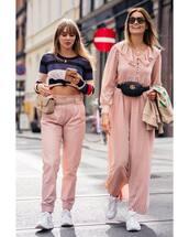 jumpsuit,oversized,pink pants,belt bag,white sneakers,earrings,sunglasses